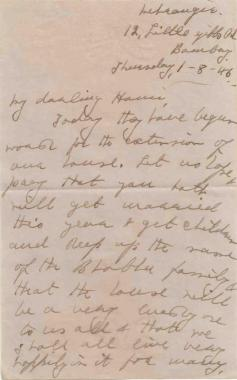 """...that the house will be a very lovely one to us all & that we shall all live happily in it ..."" Meherbai to Homi Bhabha, August 1, 1946. Credit: TIFR Archives"