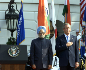 Manmohan Singh with George W Bush at the White House, Washington on July 18, 2005. Credit: Photo Division/GOI