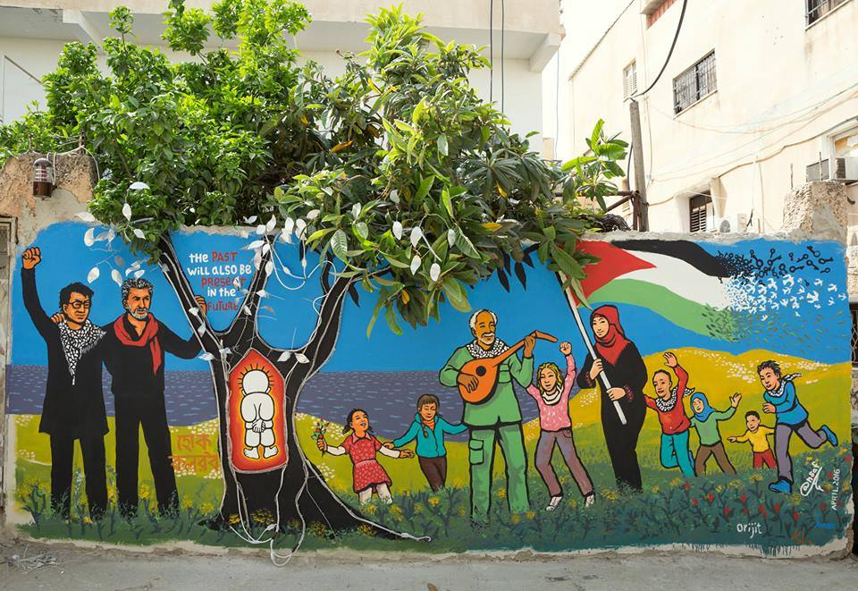 Mural by Orijit Sen depicting India-Palestine solidarity. Credit: Orijit Sen's Facebook page