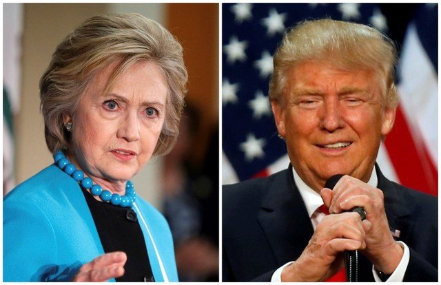 A combination photo shows US Democratic presidential candidate Hillary Clinton (L) and Republican US presidential candidate Donald Trump (R) in Los Angeles, California on May 5, 2016 and in Eugene, Oregon, US on May 6, 2016 respectively. Credit: Reuters/Lucy Nicholson (L) and Jim Urquhart
