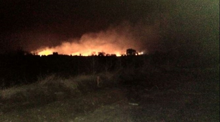 """The fire occurred in the early hours of yesterday in one of the sheds that housed """"highly sensitive ammunition"""" in the high security Central Ammunition Depot, spread over 7,000 acres. Credit: PTI"""