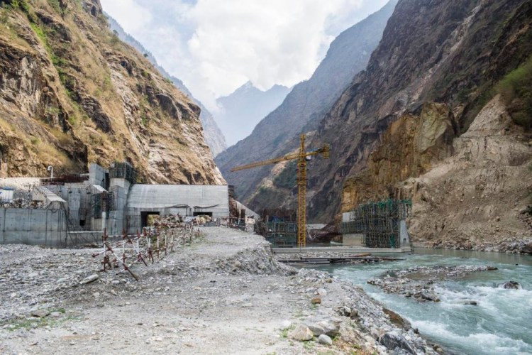 Work is yet to resume at the Upper Tamakoshi dam site after the road was destroyed by last year's earthquake. Image from Dolakha, Nepal. Credit: Nabin Baral