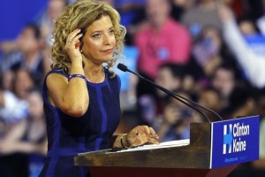 Democratic National Committee (DNC) Chairwoman Debbie Wasserman Schultz speaks at a rally, before the arrival of Democratic U.S. presidential candidate Hillary Clinton and her vice presidential running mate U.S. Senator Tim Kaine, in Miami, Florida, U.S. July 23, 2016. Reuters/Files