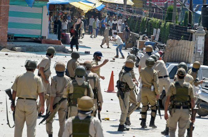 Protestors clash with police in valley. Representative Image. Credit: PTI