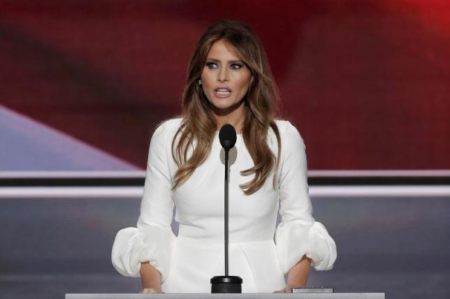 Melania Trump, wife of Republican presidential candidate Donald Trump, speaks at the Republican National Convention in Cleveland, Ohio, US July 18, 2016. Credit: Reuters/Mike Segar