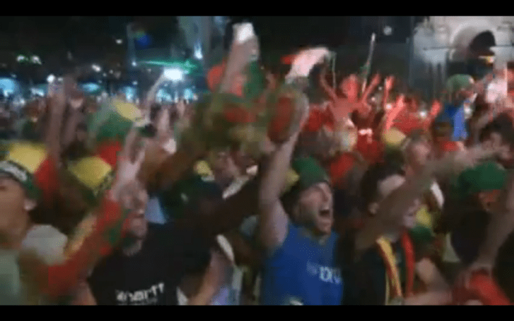 Portugal fans celebrate their side's victory over France in the 2016 UEFA cup. Credit: Reuters video grab