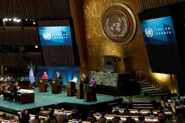 Candidates vying to be the next UN Secretary General debate in the UN General Assembly at UN headquarters in Manhattan, New York, US, July 12, 2016. Credit: Reuters/Mike Segar