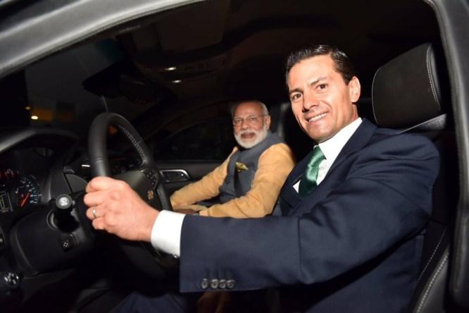 Prime Minister Narendra Modi and Mexican President Enrique Peña Nieto in Mexico City in June. Credit: MEA