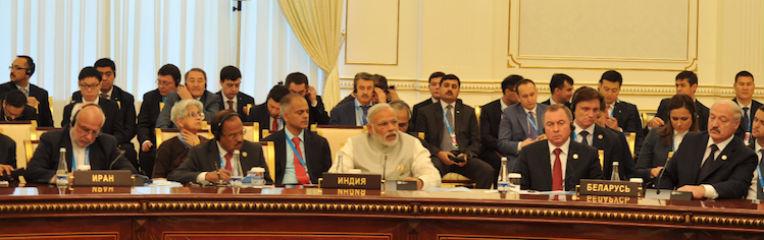 Prime Minister Modi addressing the Shanghai Cooperation Organization (SCO) on June 24 in Tashkent. Credit: www.narendramodi.in