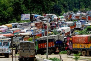 Thousands of trucks are stranded on National Highway 8, waiting to enter Tripura. Credit: PTI