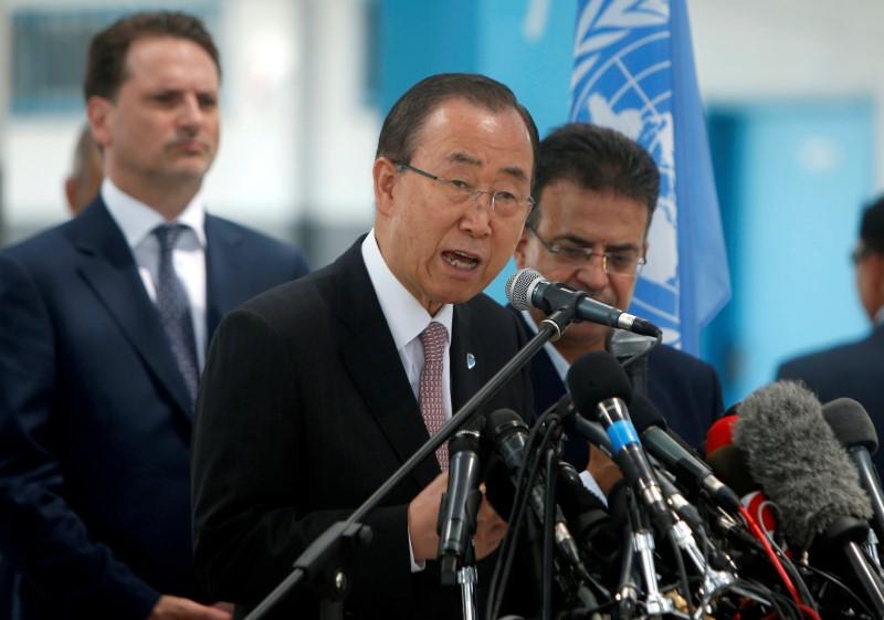 U.N. Secretary-General Ban Ki-moon speaks during a news conference at a United Nations-run school in Gaza City June 28, 2016. Suhaib Salem, Reuters/Files