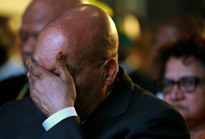 South Africa's President Jacob Zuma reacts during the official announcement of the munincipal election results at the result centre in Pretoria, South Africa, August 6, 2016. Credit: Reuters/Siphiwe Sibeko