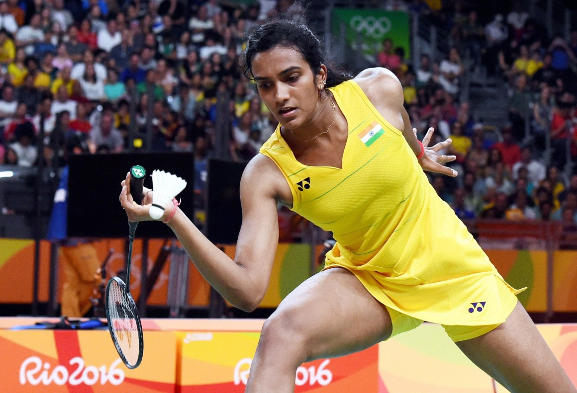 P.V. Sindhu in action against Spain's Carolina Marin in the women's badminton singles final at the 2016 Summer Olympics at Rio de Janeiro on August 19, 2016. Credit: PTI
