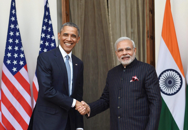 Prime Minister Narendra Modi with President Barack Obama. Obama is trying to push for a UNSC resolution to ratify the CTBT but India has made no comment on the resolution yet. Credit: Wikipedia Commons