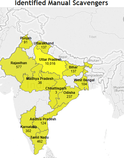 Identified Manual Scavengers. Source: Lok Sabha/IndiaSpend
