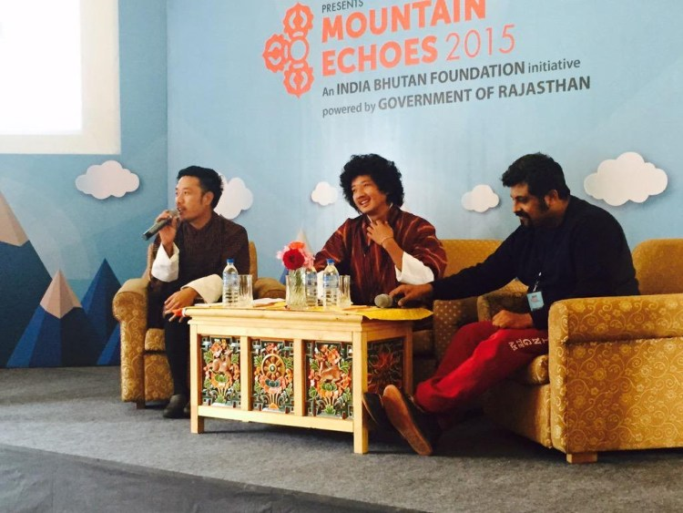 Raghu Dixit and Tandin Wangchuk in conversation with Karma Wangchuk at the Mountain Echoes festival in 2015. Credit: Twitter