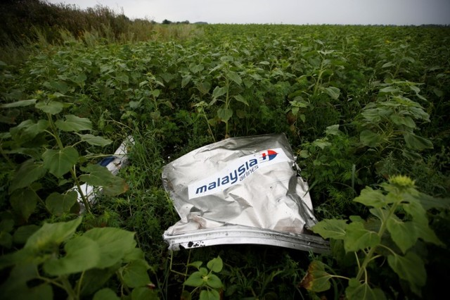 Debris from a Malaysian Airlines Boeing 777 that crashed on Thursday lies on the ground near the village of Rozsypne in the Donetsk region July 18, 2014. Credit: Reuters/Maxim Zmeyev/File Photo