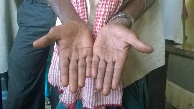 Charu's hands, alien to the PoS machine. Source: Special arrangement