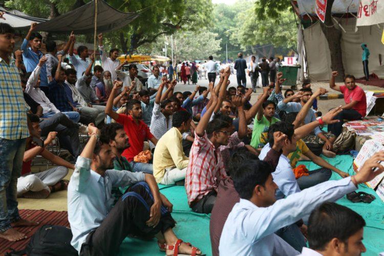 Workers protesting against Honda Rajasthan management at Jantar Mantar. Credit: Hina Fathima