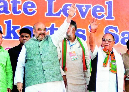 Amit Shah addresses rally in Imphal on September 14. Credit: PTI