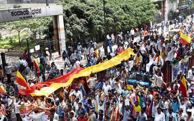 Agitators take out a protest march in Bangalore during the Karnataka bandh on Saturday on the Cauvery dispute. Credit: PTI
