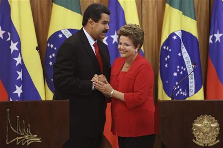 Venezuela's President Nicolas Maduro greets President Dilma Rousseff in 2013. Credit: Reuters/Ueslei Marcelino