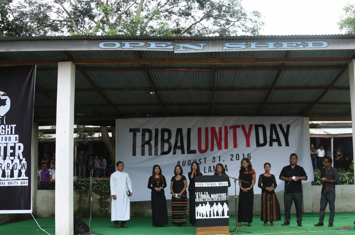 First Tribal Unity Day event, leaders from various tribes addressed the gathering August 31, 2016. Credit: Akhil Kumar