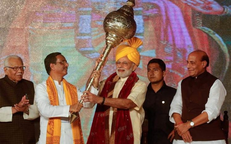 Prime Minister Narendra Modi at a Ramlila where he delivered his speech. Credit: Reuters