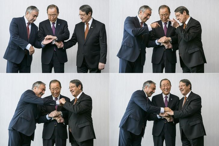 A combination of four pictures show UN Secretary-General Ban Ki-moon (C) pose for photographers with Turkish Cypriot leader Mustafa Akinci (L) and Cypriot President Nicos Anastasiades during the Cyprus reunification talks in the Swiss mountain resort of Mont Pelerin, Switzerland November 7, 2016. Credit: Reuters