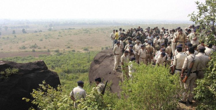 Police investigate the encounter site in Bhopal. Credit: PTI