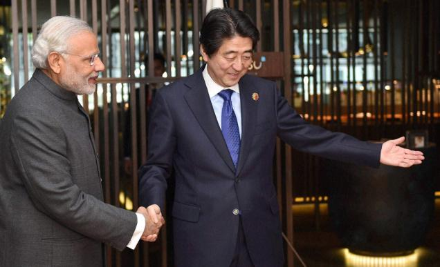 Prime Minister Narendra Modi with his Japanese counterpart Shinzo Abe. Credit: PTI/Files