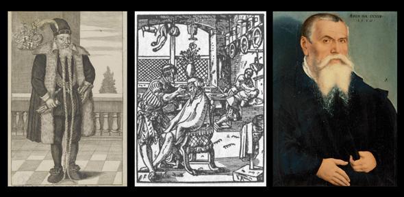 Portrait of Andreas Eberhard Rauber (1575/ around 1700); Barbershop in 'The Book of Trades' ('Das Ständebuch'), Frankfurt am Main, 1568; portrait of Lucas Cranach the Elder. Credit: Wikimedia Commons