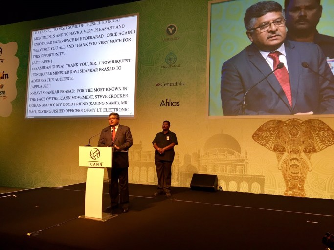 IT ministery Ravi Shankar Prasad addressing the ICANN 57 meeting in Hyderabad on Saturday. Credit: Twitter
