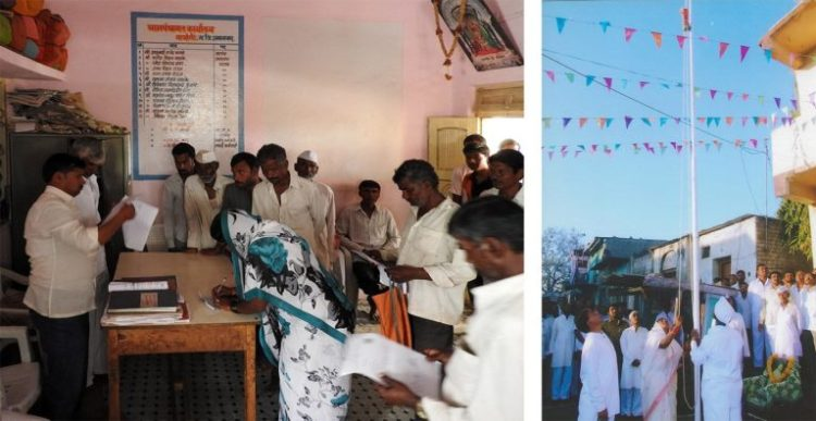 Shalubai signing papers at the clerk's table in the gram panchayat office (left) and hoisting the flag on Republic Day (right; photo courtesy: Wagholi gram panchayat)
