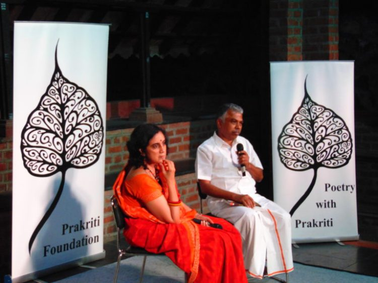 K. Srilata and Perumal Murugan in conversation in Spaces. Credit: Santosh M.