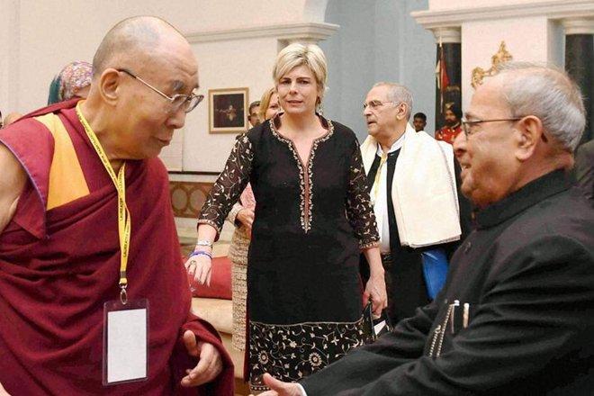 The Dalai Lama (left) with President Pranab Muhkherjee. Credit: PTI