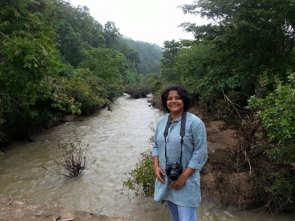 The reporter Sandhya Ravishankar, pictured here on assignment in Chhattisgarh. Credit: Special Arrangement