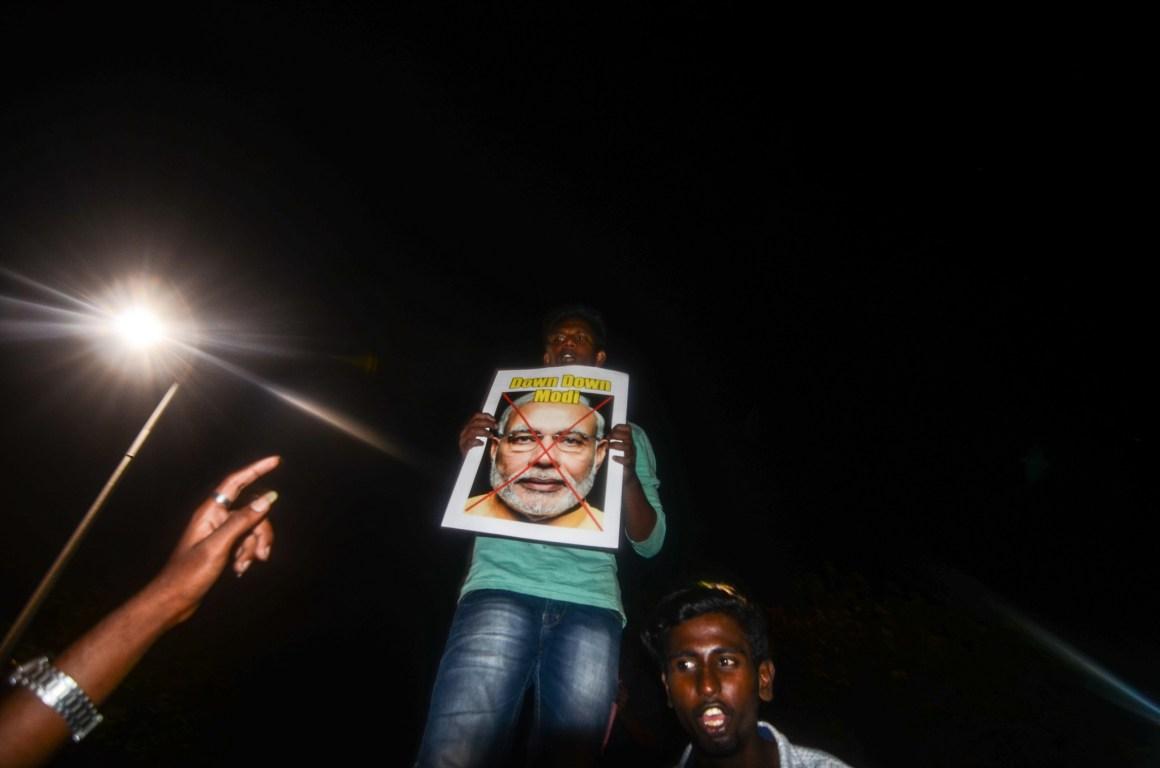 Protestors at Marina beach, Chennai. Credit: Sindhuja Parthasarathy