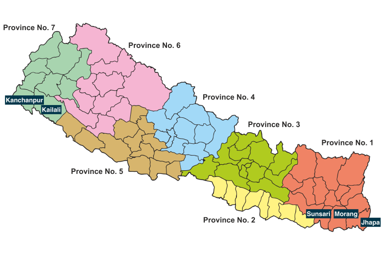 Provinces of Nepal. The provinces, created by the new constitution, will be named once elections to their respective legislatures takes place. Wikimedia CC 2.0