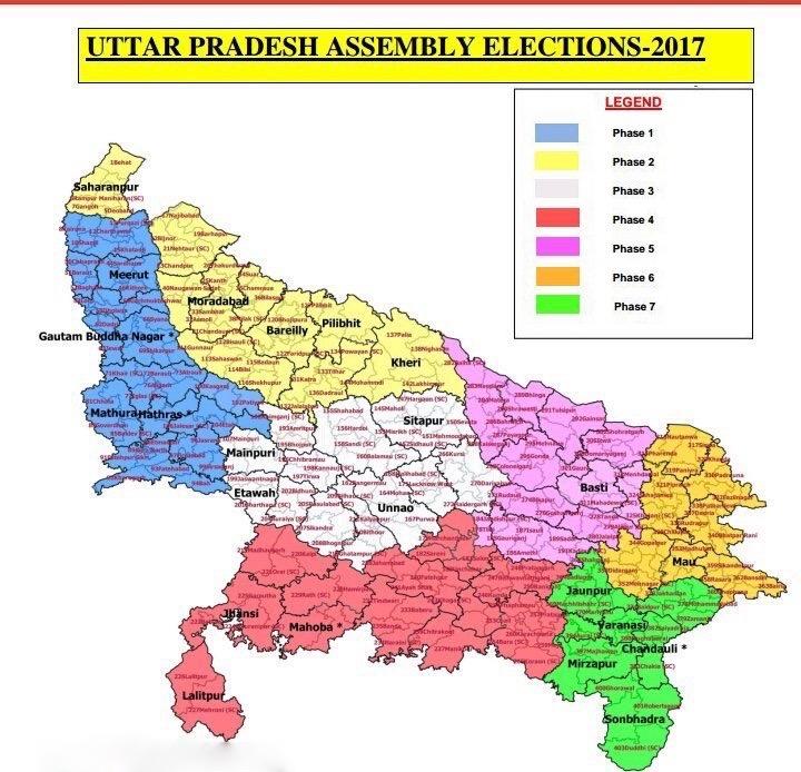 Phase-wise election break up of Uttar Pradesh constituencies. Credit: ECI