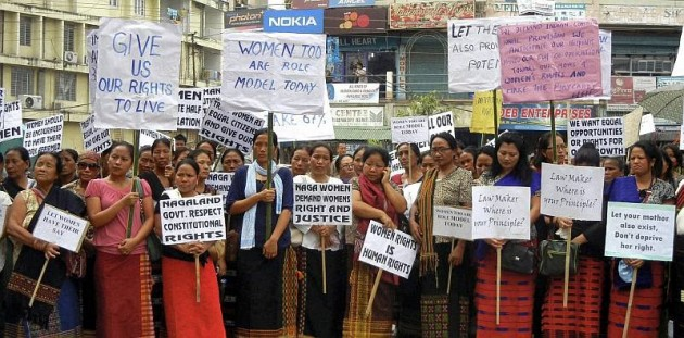 Naga women demanding reservation in elected bodies are seen during a rally in Dimapur. Credit: PTI/Files