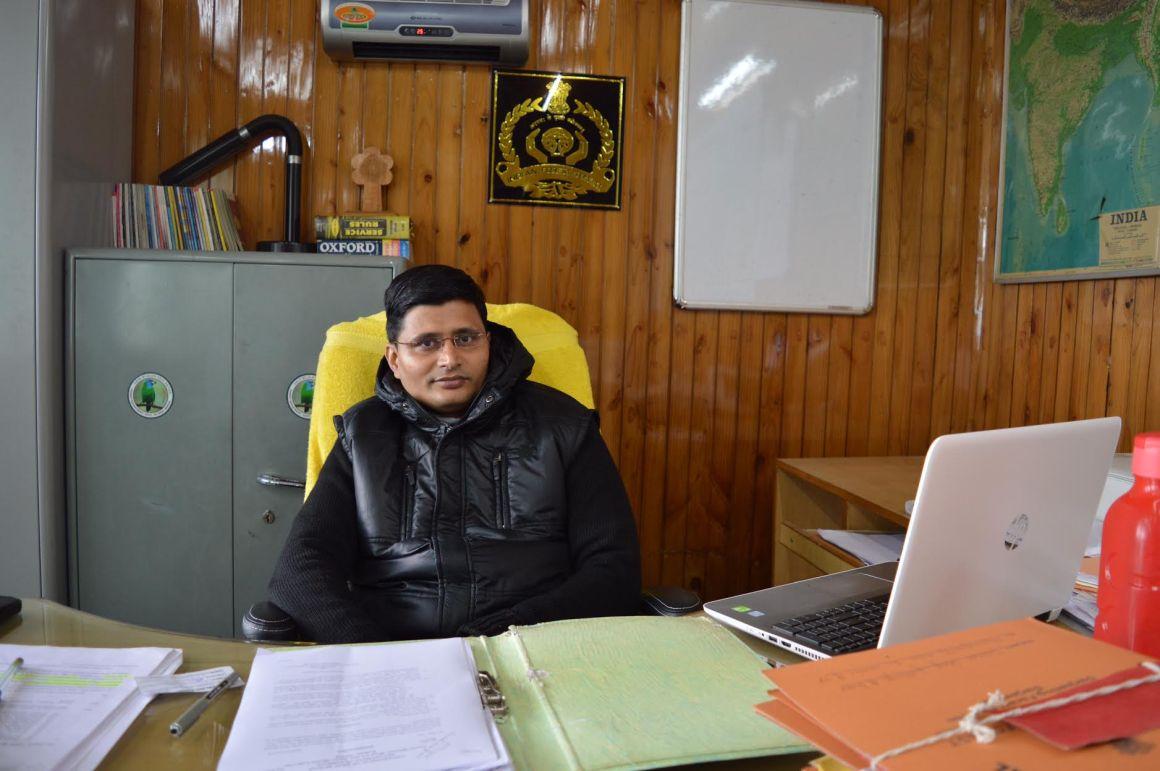 Ram Prasad Badana in his office in Darjeeling. Credit: Athar Parvaiz