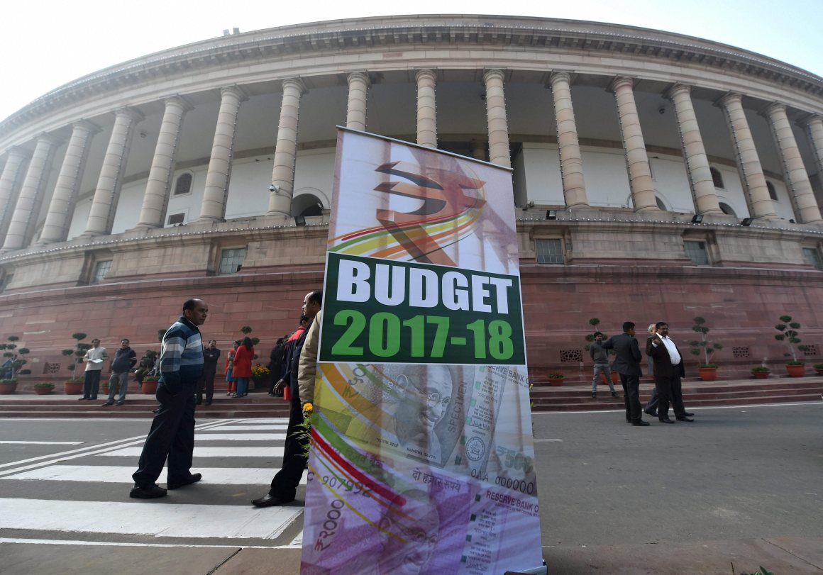 A hoarding on the Budget 2017-18 put up at Parliament house in New Delhi on the day of the Budget presentation. Credit: PTI/ Manvender Vashist