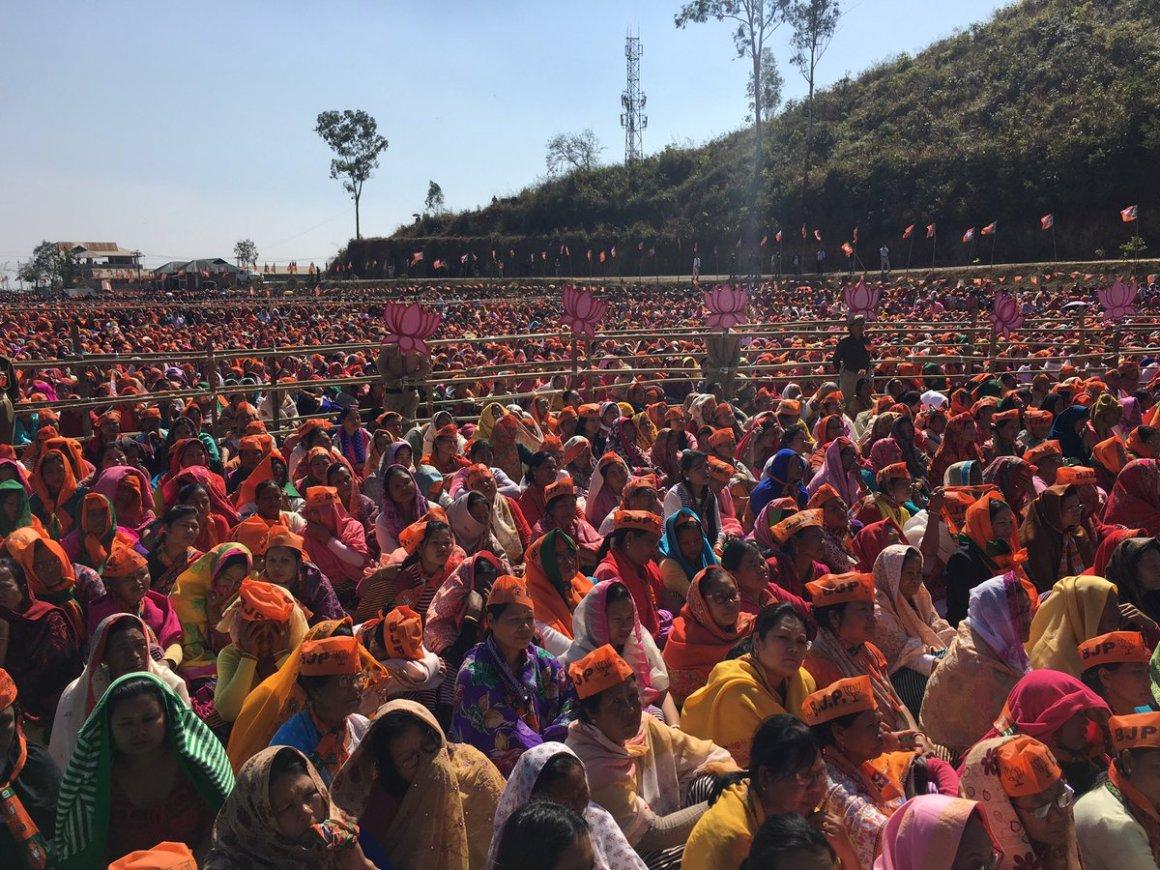 Prime Minister Narendra Modi's rally in Imphal. Credit: Rajat Sethi/Twitter