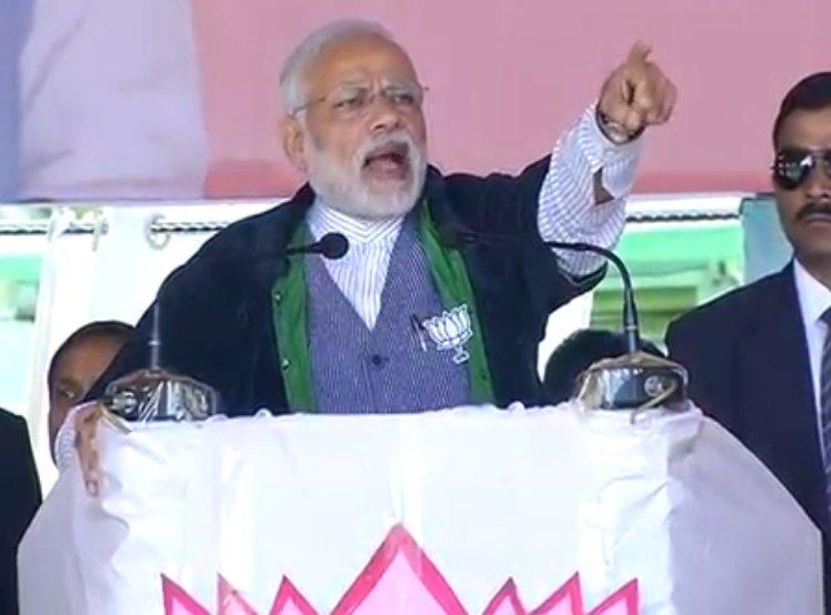 Prime Minister Narendra Modi addressing a BJP rally in Imphal. Credit: BJP/Twitter