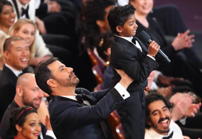89th Academy Awards - Oscars Awards Show - Hollywood, California, U.S. - 26/02/17 - Jimmy Kimmel lifts Sunny Pawar. Credit:Lucy Nicholson/Reuters