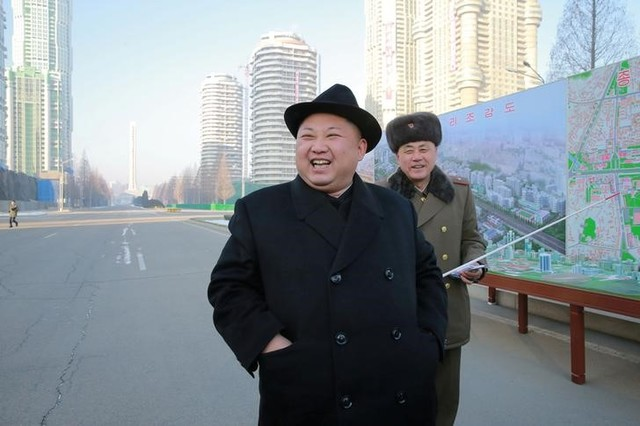 North Korean leader Kim Jong Un inspects the construction site of Ryomyong Street, in this undated photo released by North Korea's Korean Central News Agency (KCNA) on January 26, 2017. Credit: Reuters