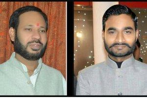 The candidates in Unchahar: (L-R) Ajai Pal Singh (Congress), Manoj Kumar Pandey (SP), Utkrisht Maurya (BJP) and Vivek Vikram Singh (BSP). Credit: Twitter/Ajai Pal Singh, Facebook/Manoj Kumar Pandey, Facebook/Rishikesh Unchahar, Jahnavi Sen