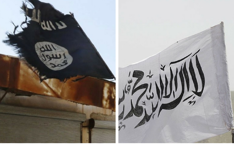 The ISIS and Taliban's flags. Credit: Reuters