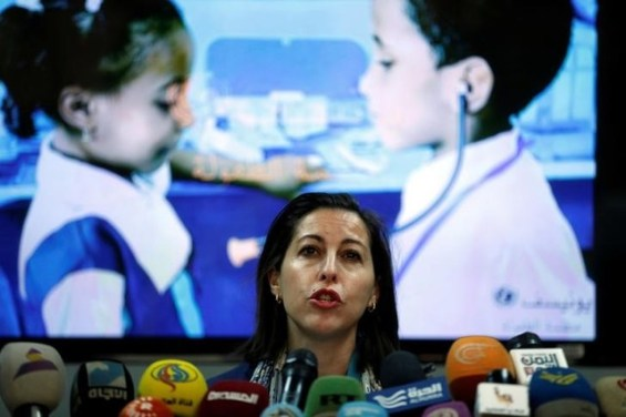 UNICEF representative in Yemen, Meritxell Relano, addresses a press conference in Sanaa, Yemen, January 11, 2017. REUTERS/Khaled Abdullah